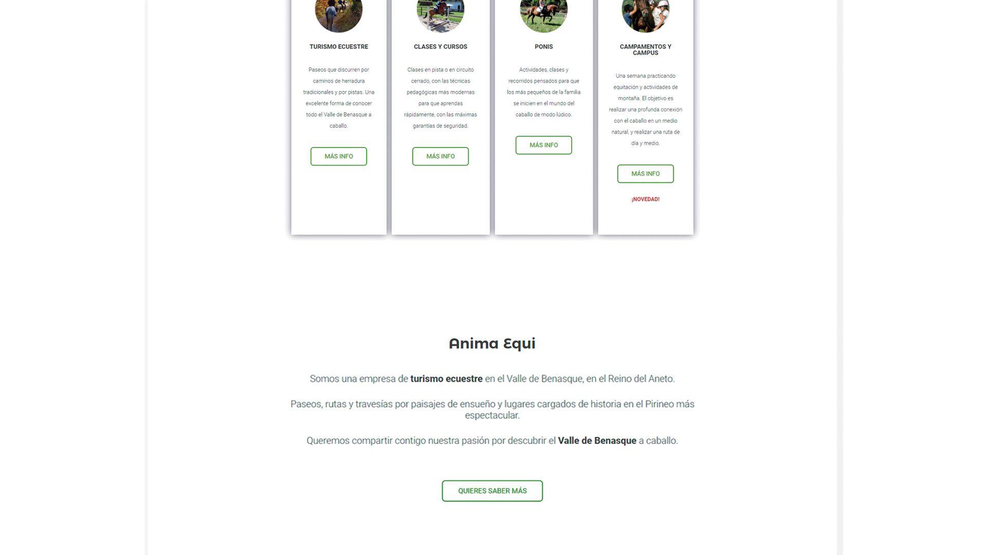Web design turismo ecuestre Huesca Anima Equi