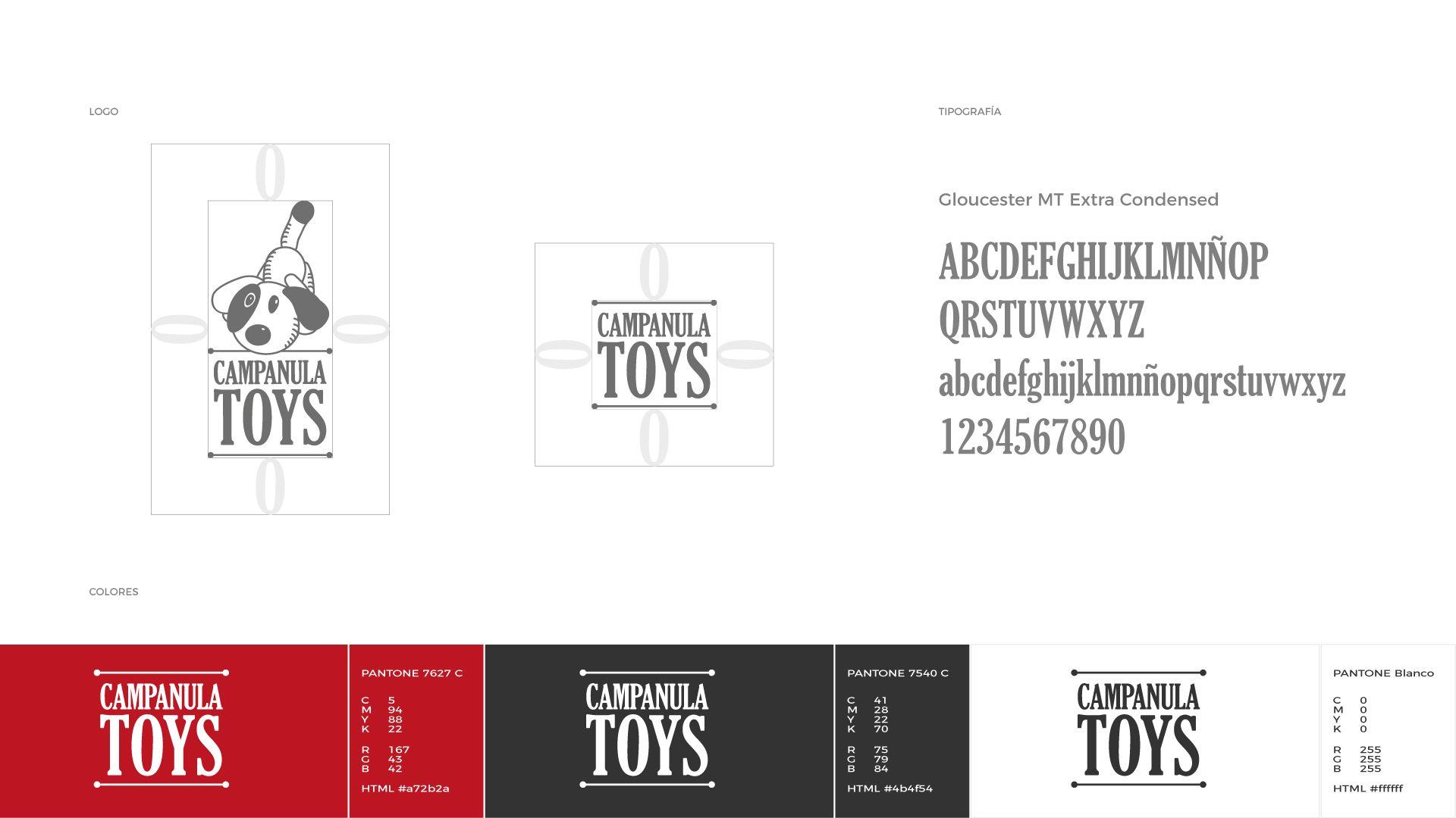 Campanula Toys construcción del logo